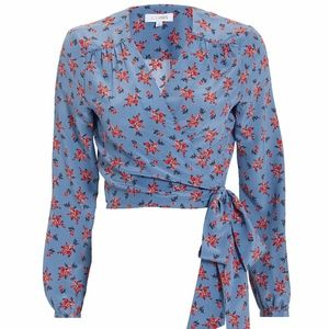 New Intermix Tansy Printed Wrap Top S